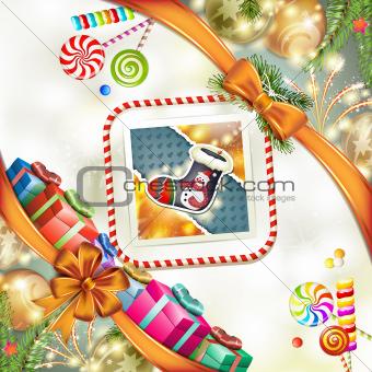 Christmas sock with gift