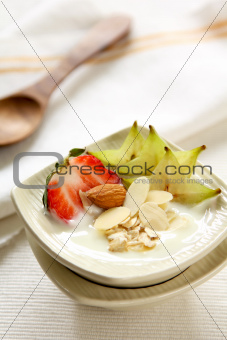 Yogurt with strawberry and star fruit