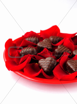 Heart-Shaped Candies &amp; Rose Petals