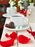 A Cup of Coffee with Heart Candies