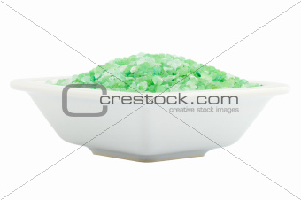 green bath salt for spa in bowl