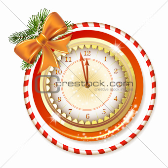 Clock decorated with Christmas bow