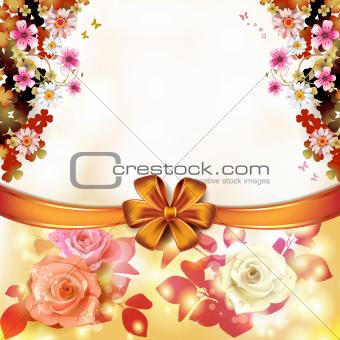 Roses with orange bow