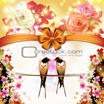 Two swallows with flowers