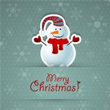 Merry christmas background with snowman.