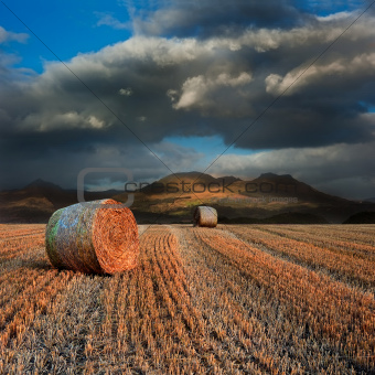 Landscape of hay bales in front of mountain range with dramatic