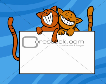 cartoon cats with board or card