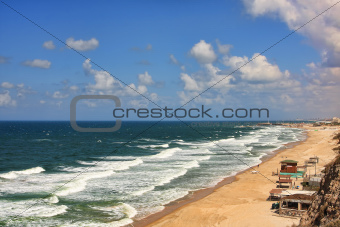 Aerial view on beach along Mediterranean sea.