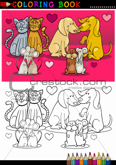 Animals in love cartoon for coloring book