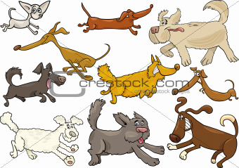 cartoon playful running dogs set