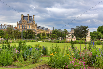 Tuileries Garden and Louvre museum. Paris, France.