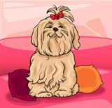 cute maltese dog cartoon illustration