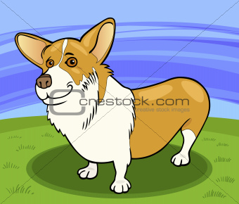 pembroke welsh corgi dog cartoon illustration