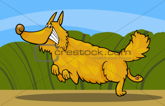 cartoon happy shaggy playful dog