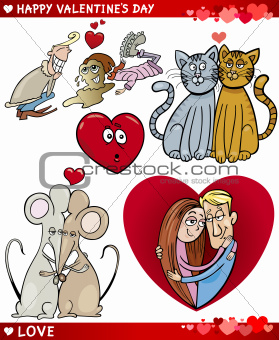 valentine cartoon illustration love set