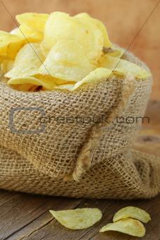 natural organic potato chips in a linen bag