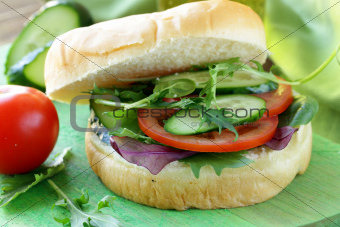 vegetarian burger with vegetables and green salad