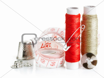tools for needlework thread and tape measure