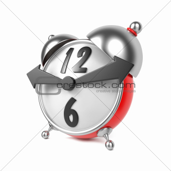 3d Alarm Clock Isolated on White.