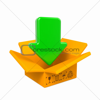 Open Color Cardboard Box and Arrow. For Design.