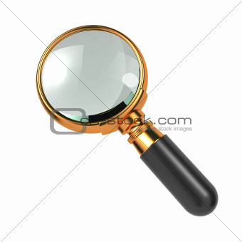 Magnifying Glass Isolated on White.