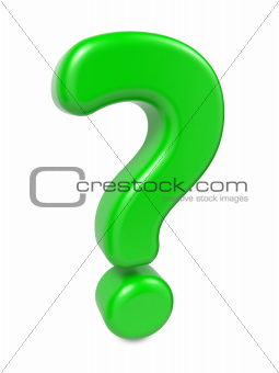 Green Question Mark , Isolated on White.