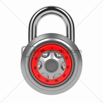 Combination Padlock Isolated on White.