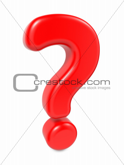 Red Question Mark , Isolated on White.