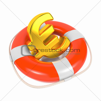 Euro Sign in Red Lifebuoy. Isolated on White.