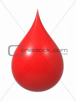 Drop of Blood Isolated on White.