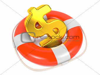 Dollar Sign in Red Lifebuoy. Isolated on White.