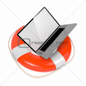 Laptop in Lifebuoy. Support and Service Concept.