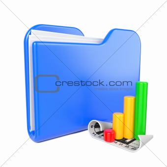 Blue Folder with Infograph Icon.