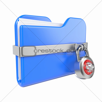 Blue Folder with Toon Padlock.
