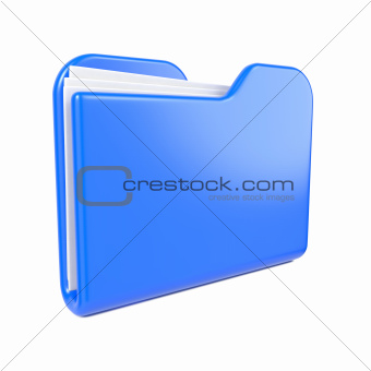 Blue Folder Icon on White.