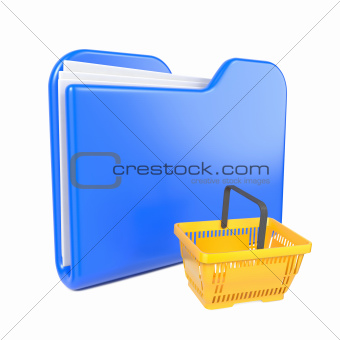 Blue Folder with Shopping Basket. on White.