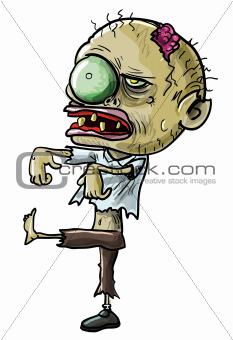 Cartoon zombie with a grotesque eye
