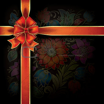 abstract background with gift ribbon and floral ornament