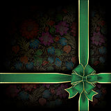 abstract grunge background with gift ribbon and floral ornament