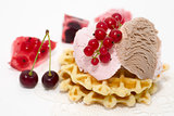 dessert consist of currant, ise-cream, cherry and waffles