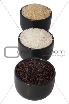 black, brown and white rice