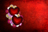 Grunge Valentine heart with flowers