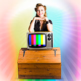 Technology Smart Pinup Woman On Retro Color TV