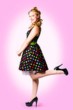 Cute Pin-Up Style Fashion Model In Retro Dress