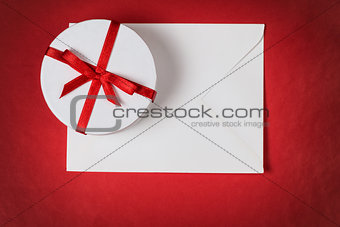 background with gift box and envelope