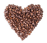 heart fron coffee beans