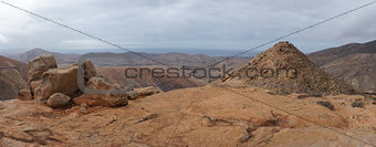 Panorama of volcanic hills, Fuerteventura, Canary Islands