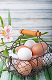 A basket full of eggs