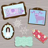 vector  set of christmas elements