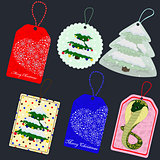 vector set of Christmas tags